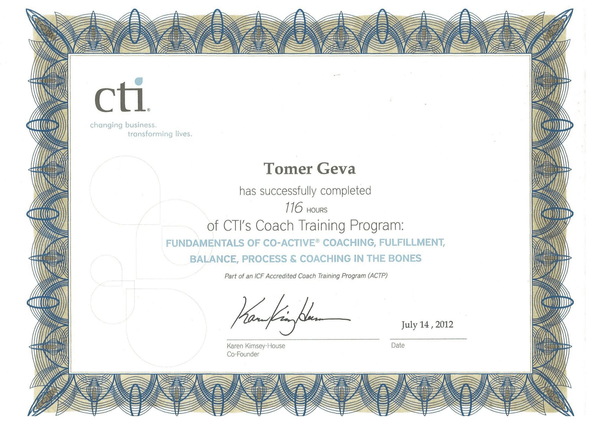 תעודת הסמכה מאמן אישי לחיים CTI