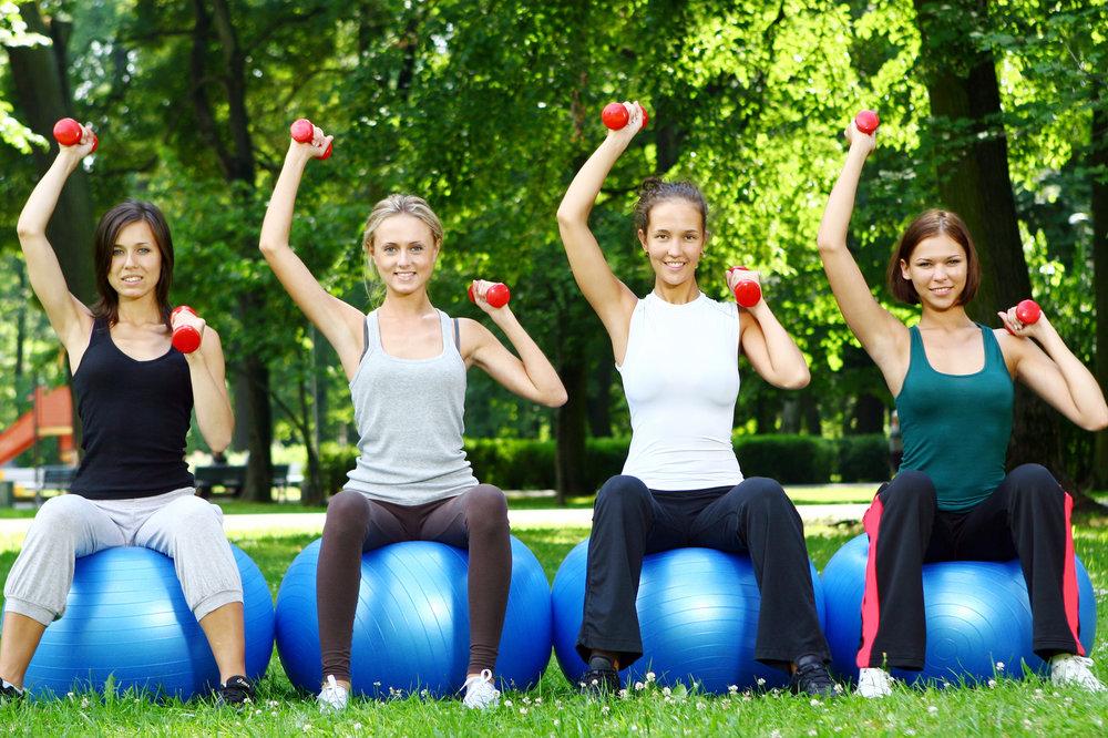 אימון כושר קבוצתי - נשים מבצעות תרגיל לחיצת כתפיים בישיבה על פיטבול כנגד משקולות יד