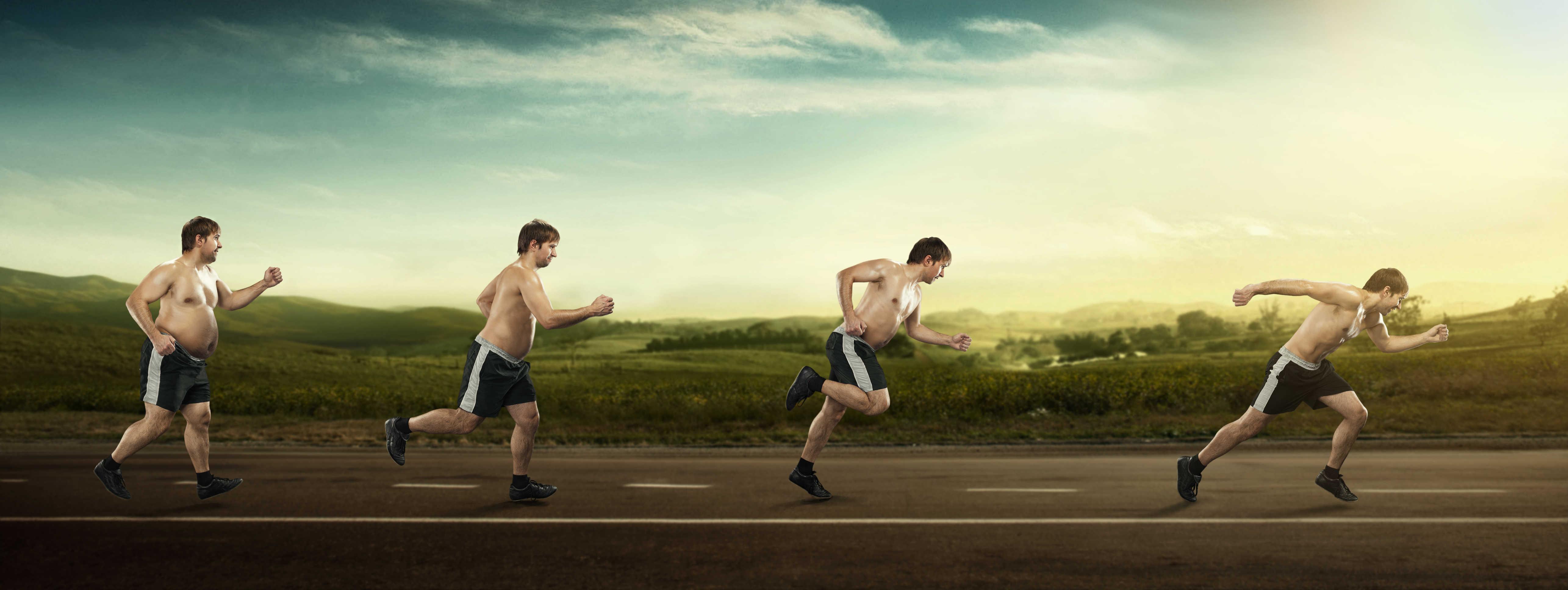 אדם שמן רץ בפעם הראשונה לאחר שרזה